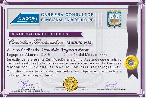 Certificación de estudios en Consultor Funcional Módulo PM