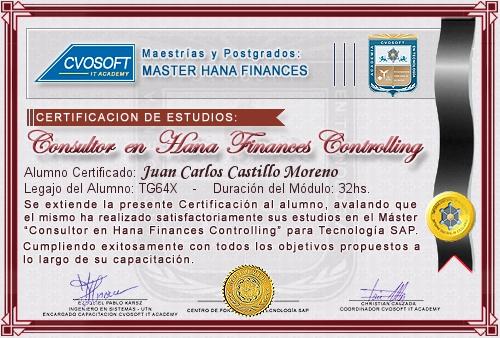Certificación de estudios en Master S/4HANA FINANCE Controlling
