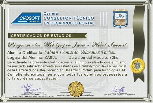 Certificación de estudios en Programador WebDynpro JAVA Nivel Inicial