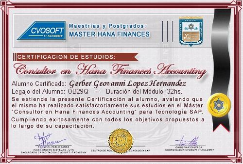 Certificación de estudios en Master S/4HANA FINANCE Accounting
