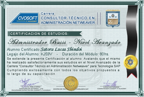 Certificación de estudios en Consultor BASIS Nivel Avanzado