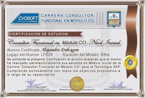 Certificación de estudios en Consultor Funcional Módulo CO Nivel Inicial