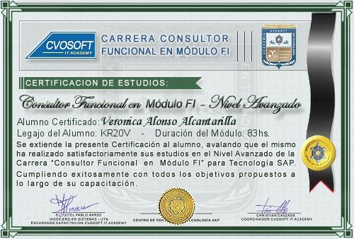 Certificación de estudios en Consultor Funcional Módulo FI Nivel Avanzado