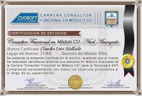 Certificación de estudios en Consultor Funcional Módulo CO Nivel Avanzado