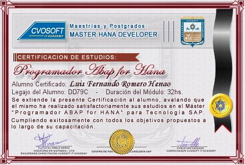 Certificación de estudios en Master ABAP for HANA