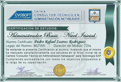Certificación de estudios en Administrador BASIS Nivel Inicial