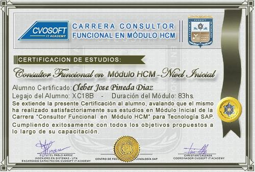 Certificación de estudios en Consultor Funcional Módulo HCM Nivel Inicial