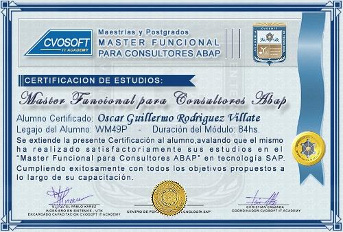 Certificación de estudios en Master Funcional para Consultores ABAP