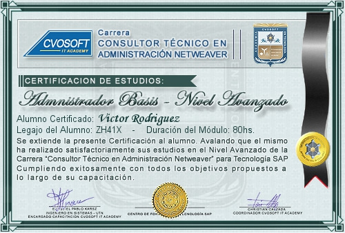 Certificación de estudios en Administrador BASIS Nivel Avanzado