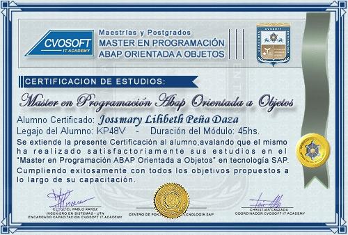 Certificación de estudios en Master en Programación ABAP Orientado a Objetos