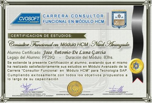 Certificación de estudios en Consultor Funcional Módulo HCM Nivel Avanzado