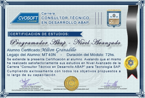 Certificación de estudios en Consultor ABAP Nivel Avanzado