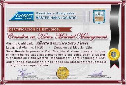 Certificación de estudios en Master S/4HANA Material Management