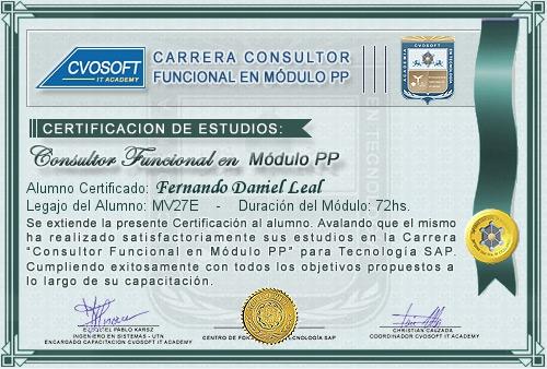 Certificación de estudios en Consultor Funcional Módulo PP